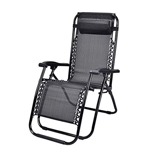 YLCJ Relaxende campingstoel Gravity Relaxing Chair, ultralichte opvouwbare stoel met hoofdsteun, perfect voor thuis, patio, terrasplanken, vakantie, strand, zwart