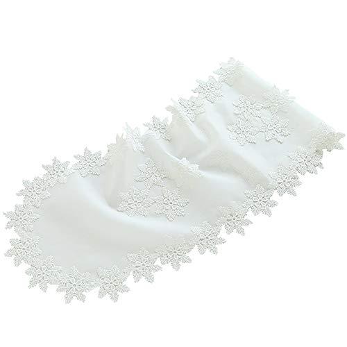 CHEEKQ Tischläufer Weißer Ovaler Leinen-Spitzen-Tischläufer mit Schneeflockenmuster, Langlebige Tischdecke für Hochzeit, Urlaub, Partys, Wohnkultur (Size : 16