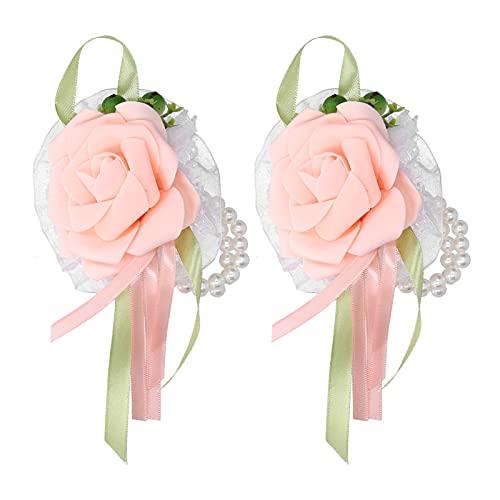 Flor de muñeca Artificial, innovadora Flor de Ramillete Flor de muñeca de Dama de Honor con Pulsera de Perlas para Mujeres y niñas 2 Piezas(02-Color Champagne)