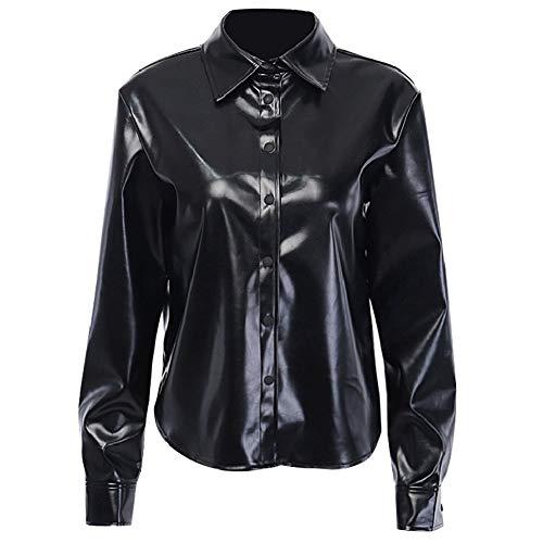 PUJIANGxian vrouwen regen gebreide PU-breasted winterjas losse lange mouwen donkere Frock Polo kraag lederen jas voor Bubble