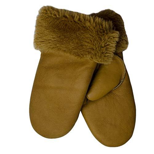 SamWo, Handschuhe/Fäustlinge für Damen, 100% Lammfell, Größe: M, cogniac
