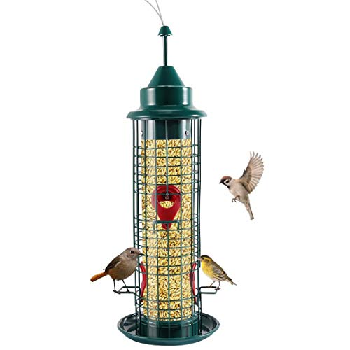 Squirrel Proof Bird Feeder, CrazyFire Outside Hanging Bird Feeder, Metal Waterproof Wild Bird Feeder...