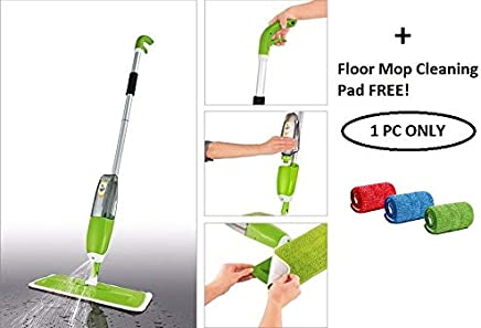 TOKU Stainless Steel Microfiber Floor Cleaning Healthy Spray Mop with Washable Cleaning Pad, Green (46 x 15 x 10 cm)