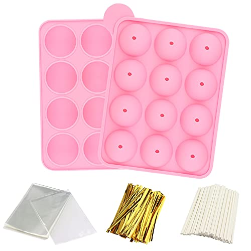 Cake Pop Maker Set with 1 Molds Silicone, 100PCS Paper Lollipop Sticks, 100 Cake Pop Bags and 100pcs Metallic Twist Ties. Great for Hard Candy, Lollipop, Cake Pop and Party Cupcake (Pink)