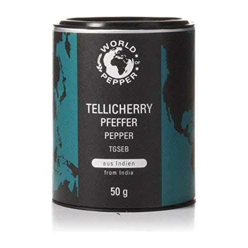 Tellicherry Pfeffer - World of Pepper - 50g - Exklusiver Pfeffer aus Indien, sehr selten - Premium Qualität mit Zufriedenheitsgarantie