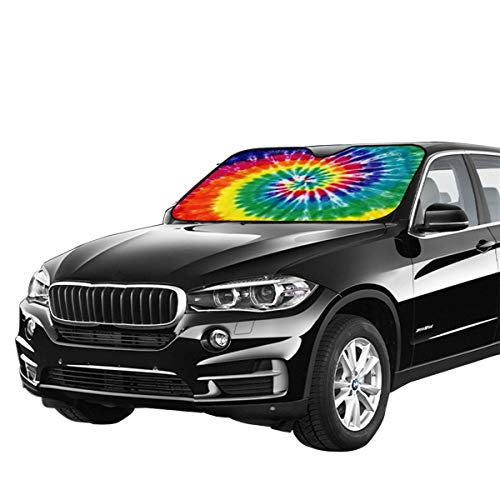 Tie Dye Auto Windshield Sun Shade Car Front Window Sunshade-UV Protection Double Bubble Foil Jumbo Foldable Sunshade for Car Prevent Your Car from Sun Heat /& Glare Keep Vehicle Cool