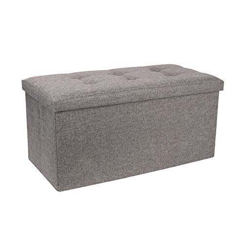 OUNUO 76 x 38 x 38 cm Large Folding Storage Ottoman Box Toy Chest and Footstool Dark Grey Linen Fabric, Comfy Sponge Bench Space Saving