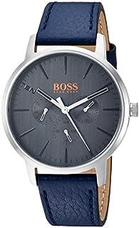HUGO BOSS Orange Men's 'Copenhagen' Quartz Stainless Steel and Leather Casual Watch, Color:Blue (Model: 1550066)