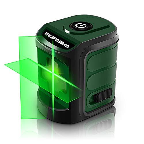 MUFASHA レーザー墨出し器 水平器 2ライン レーザーレベル ミニ型 持ち運びに便利自動水平調整機能 収納バック付き レーザークラス2 (Green Line)
