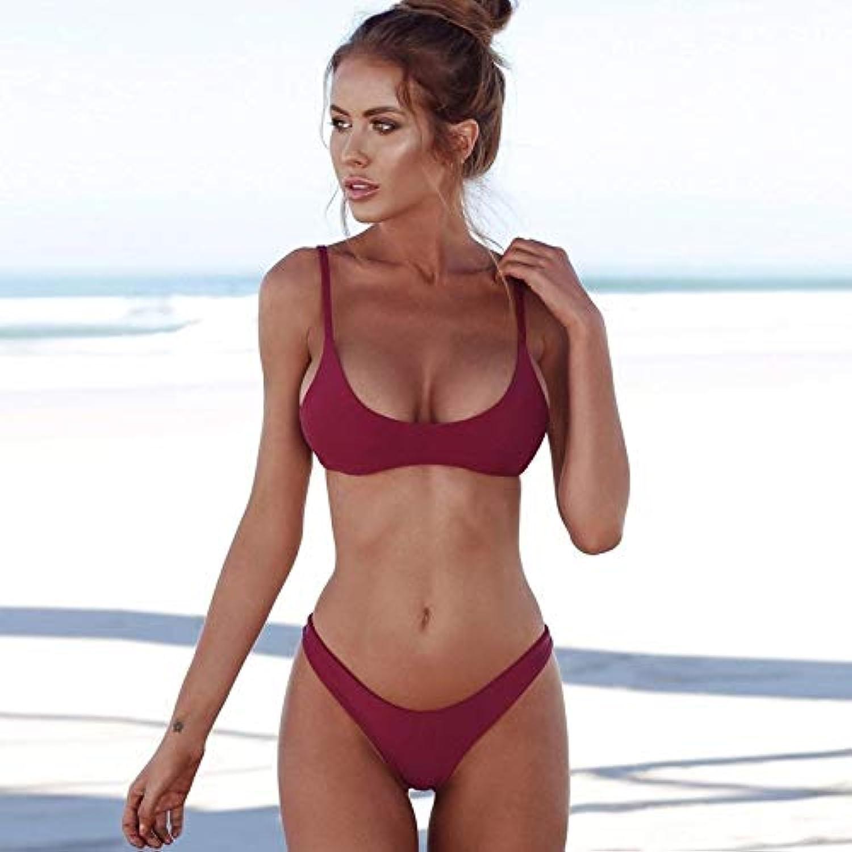 HITSAN Jookrrix 2018 Summer Women Solid Bikini Set Push-up Unpadded Bra Swimsuit Swimwear Triangle Bather Suit Swimming Suit Biquini color Wine red Size M
