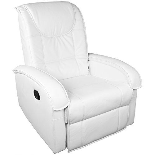 STILISTA TV Relaxsessel aus Kunstleder, mit ausklappbarer Fußstütze, Bequeme Polsterung, Farbe weiß, schadstoffgeprüft