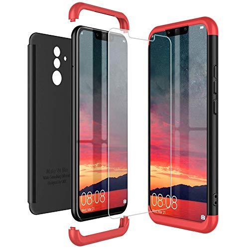 Mkej Kompatibel mit Huawei Mate 20 Lite Hülle, [Panzerglas Displayschutzfolie] 3 in 1 Ultra Dünn Handyhülle 360° Full Body Anti-Kratzer Hart PC Skin Glatte Bumper für Mate 20 Lite - Schwarz rot