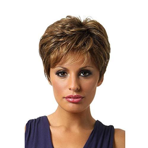 ZYDP Breve ricci parrucca Bob Brown con bionda evidenza Parrucche Con Obique Bangs for le donne (Color : Brown)