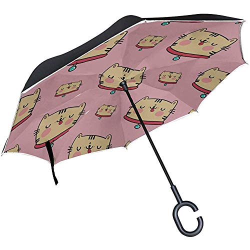 Alice Eva Paraguas invertido Sillas Plegables Paraguas Inteligente Regalo de corazón cálido Animal Mascota Gato Gato Paraguas Plegable inverso Paraguas Reversible