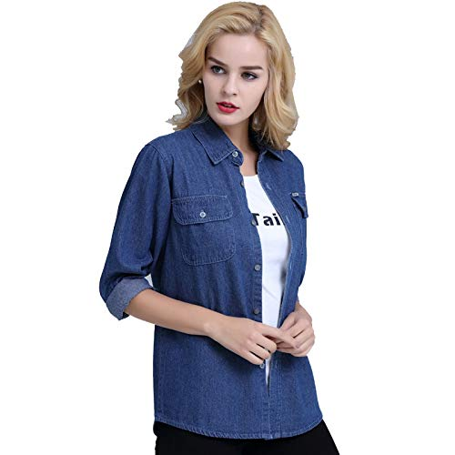 NZJK Fashion Lente Grote Maat Dames Casual Denim Jas Lange Dunne Sleeved Lang-Sleeved Shirt In de herfst