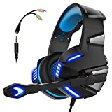 Audífonos Gamer con Micrófono para PS4 Xbox One PC, Diadema Auriculares Alámbrico Estéreo para Juegos Cancelación de Ruido y Luz LED Control de Volumen Headset para Computadora Portátil, Celulares
