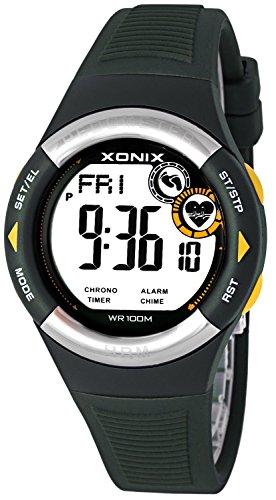 XONIX Unisex Uhr Pulsmesser Schrittzähler Quarzwerk Silikonarmband, X8MR71H/3