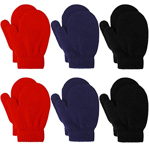 Cooraby 6 Pairs Toddler Magic Stretch Mittens Winter Unisex Baby Knitted Gloves Mittens (Mixed Color K, 2-4 Years)