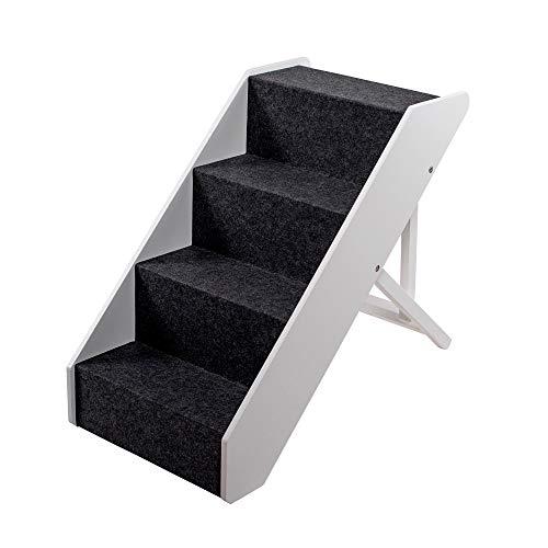 UPP Escalera para mascotas I escalera de madera maciza para animales I escalera para perros y gatos I escalera para mascotas, 4 escalones, altura regulable, hasta 70kg, blanca