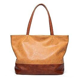 Fanspack Dames Sac Fourre-Tout Femmes Sac à Main Double Couleur Grande Capacité Mode Sac à Bandoulière Pu en Cuir Sac à…