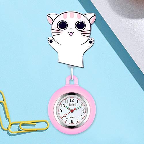 Reloj de Enfermera,Reloj de Bolsillo médico Reloj de Bolsillo, Reloj telescópico de Silicona-Cats,Reloj Enfermera de Flor