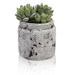 Silk Flower Arrangements MyGift 4.7-Inch Realistic Artificial Green Succulent Plant Arrangement in Vintage Distressed Gray Ceramic Jar Pot