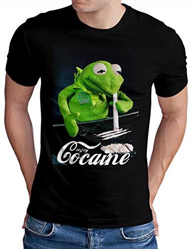 OM3® Enjoy-Cocaine-Frog T-Shirt | Herren | Kokain Kult Logo Drug Fun Graphic Shirt | Schwarz, M