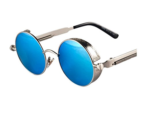 Arctic Star Steampunk Retro Round Frame Screws Spring Legs Inventor Sunglasses