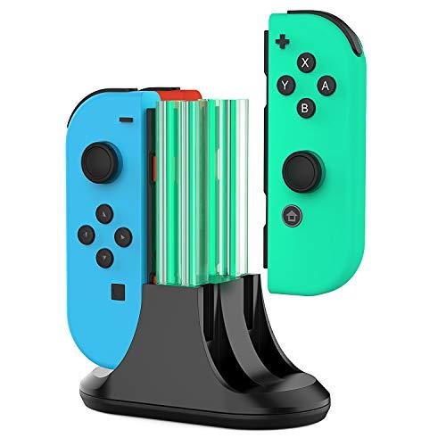 Base de carga para Nintendo Switch Joy-Con, 4 en 1 Joycon Controller Station cargador con indicación LED y cable tipo C