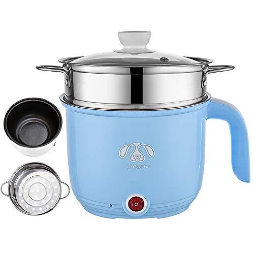 Wxvimi Electric Noodle Pot,Electric Hot Pot,Rapid Noodles Cooker, 1.8L Electric Cooker,Mini Steamer with Steaming Rack,Non-Stick Casserole, Suitable for Noodles,Eggs, Dumplings, Soup, Porridge(blue)