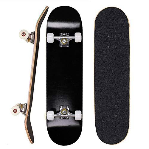 Sumeber Skateboard für Anfänger 31 x 8 Zoll Komplettboard mit ABEC-7 Kugellager Double Kick Skateboards Geburtstagsgeschenk für Kinder Teenager und Erwachsene (Alles schwarz)