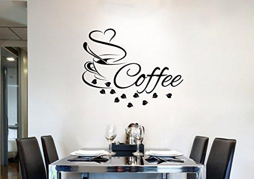 Grandora Wandtattoo Wort Coffee + Kaffeetasse Herz I cremeweiß (BxH) 27 x 21 cm I Kaffee Esszimmer Küche Sticker Aufkleber Wandsticker Wandaufkleber W3038