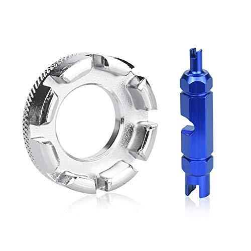 TANCUDER 2 PCS Herramienta de Desmontaje del Núcleo de Bicicleta Herramienta de Extracción de Núcleo de Válvula Presta Multifunción Desmontaje de Llave para Neumáticos de Ciclismo (Azul y Plata)