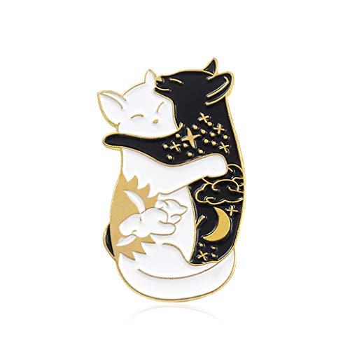 Oyrcvweuy Cat Brosche Cute Couples Hug Broschen für Neuheit Pin Accessoires für Kleidung Hemd Jacken Mäntel Krawatte Hüte Caps Taschen