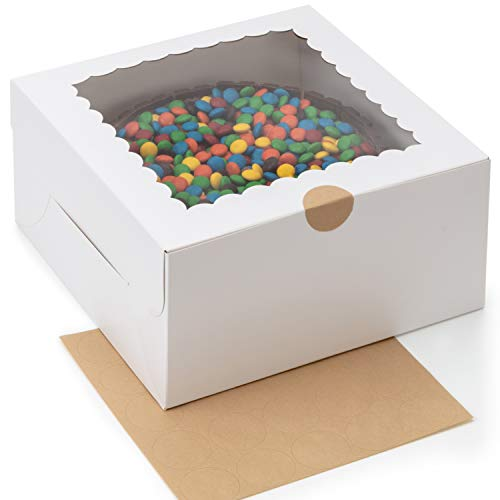 [25-Pack] BluShore Cake Boxes 10 Inch - Sturdy White 10 Inch Cake Box With Window and Sticker Seals - Bulk Boxes for Transport of Bundt Cake, Cheesecake, and More - Disposable Cake Containers - 10x10x5 Cake Boxes - White Bakery Boxes With Window