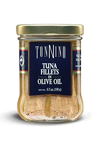 Tonnino Tuna Fillets Low Calorie and Gluten Free Yellowfin Jarred Premium Tuna in Olive Oil 6.7 oz (Pack of 6)