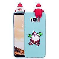 ケース Galaxy S8、シリコン ソフトフレーム tpu サボテン カバー、薄型 かわいい 3D 漫画 クリスマス 新しい ケース、ユニーク 人気 耐衝撃 弾性 軽量 薄型 衝撃吸収 全面保護カバー, 面白いユニークなラッキーギフト、子供、女の子、婦人のための,by Beautycatcher - 浅青+サンタクロース