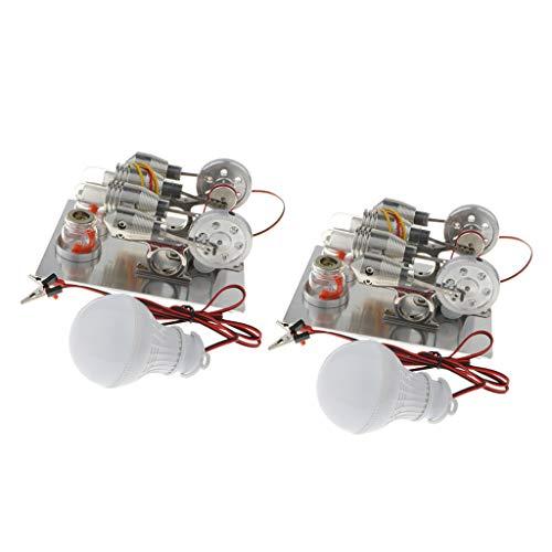 sharprepublic 2X Filmprojektor Stirlingmotor Modell Physikalischer Stromgenerator, Wissenschaft DIY Kits
