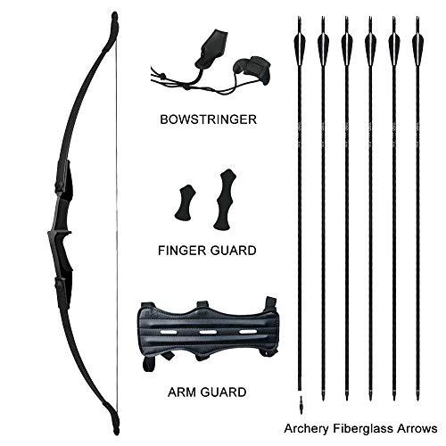 Tongtu Recurve Bogen Pfeil Set für Teenager oder Anfänger Takedown Bogen Bogenschießen Jagd Schiff aus Deutschland (30Pfund, Schwarz)