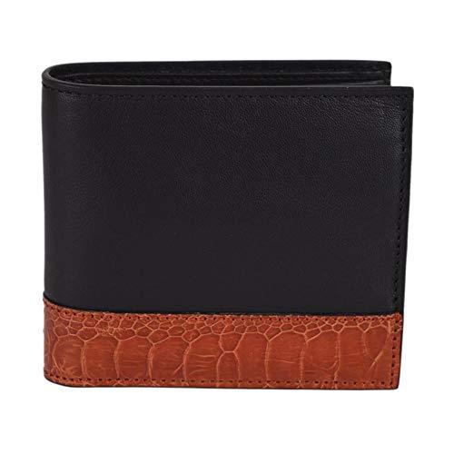 Gucci Men's Ostrich Claws Leather Bi-Fold Wallet 256418 1066 Black/Burnt Orange