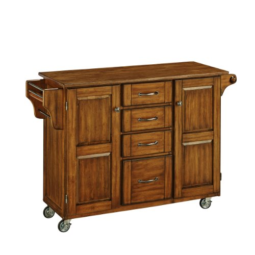 Home Styles Create-a-Cart Oak Two-door Cabinet with Natural Wood Top, Two Wood Panel Doors, Adjustable Shelves, Four Drawers, Two Towel Bars, Spice Rack, and Rubber Casters