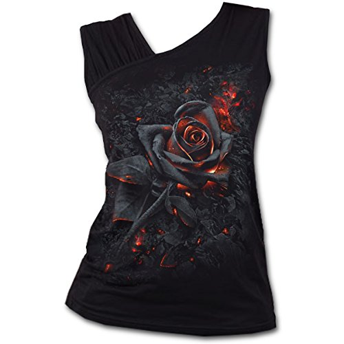 Spiral Direct Burnt Rose-Gathered Shoulder Slant Vest Top, Negro (Blac
