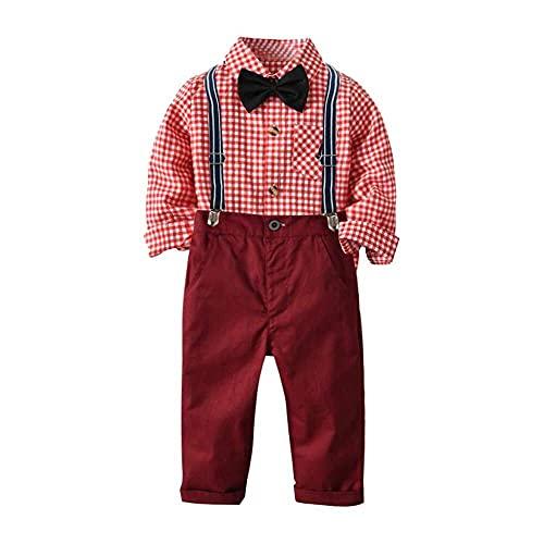 nanxing Camiseta de cuadros para niños pequeños + pajarita + tirantes de color sólido para fiestas de 2 a 8 años