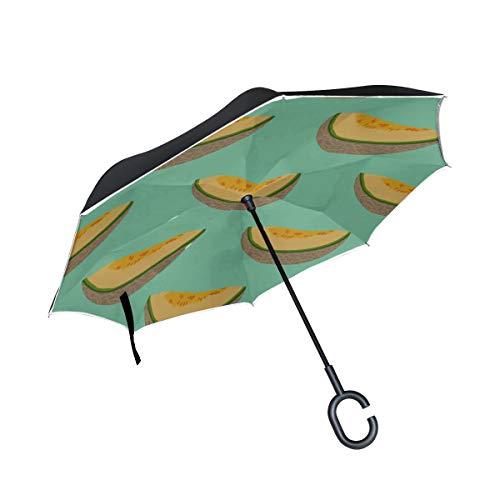 Double Layer Inverted Folding Sonnenschirm Regenschirm Vollreif Gelb Vollkorn In Scheiben geschnitten Melone Reverse Umbrella Reise Faltschirme Winddichter UV-Schutz für Regen Mit C-förmigem Griff