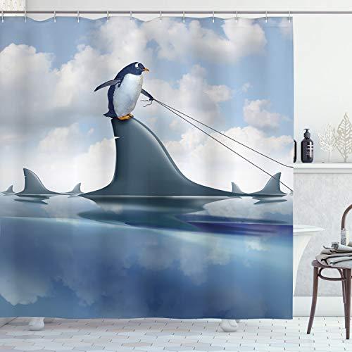 ABAKUHAUS Hai Duschvorhang, Pinguin, der Wilde Fische anhält, mit 12 Ringe Set Wasserdicht Stielvoll Modern Farbfest & Schimmel Resistent, 175x200 cm, Blau grau Sand