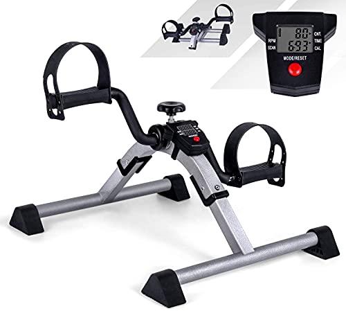 VAZILLIO Mini Bike Heimtrainer Pedaltrainer Arm und Beintrainer Fitnesstrainer, Fitness Fahrrad Fitnessgerät mit LCD-Monitor Einstellbarer Widerstand Heimfahrrad Trainingsgerät für Zuhause Büro