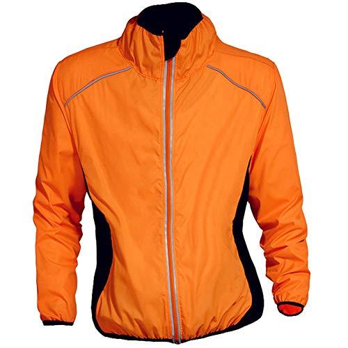 Yu$iOne Reflektierende Radjacke, Outdoor-Mantel Mit Langen ÄRmeln Radfahren Windmantel, FüR MäNner Und Frauen Sportbekleidung,Orange,XXXL