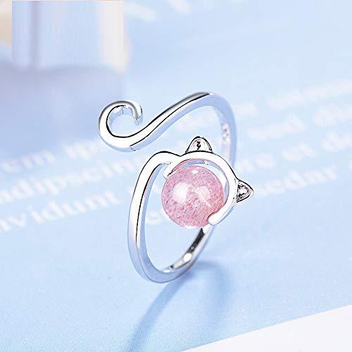 BNFG Open Rings For Womenm,Fashion Ladies Adjustable Open Rings Zircon Ears Pink Agate Kitten Animal Design Silver Elegant Ring Engagement Eternity Xmas Jewellery Gift For Women Girls