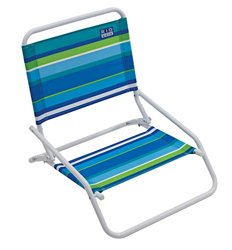 RIO Beach Wave 1-Position Beach Folding Sand Chair - Ocean Stripes
