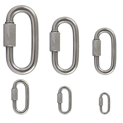 FASTON Edelstahl Karabiner Schraubverschluss D=4 (2 Stück) Ketten Schnellverschluss Schraubverbinder V4A Kettenverbinder